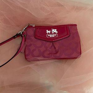 Mini Coach Hot Pink Wristlet